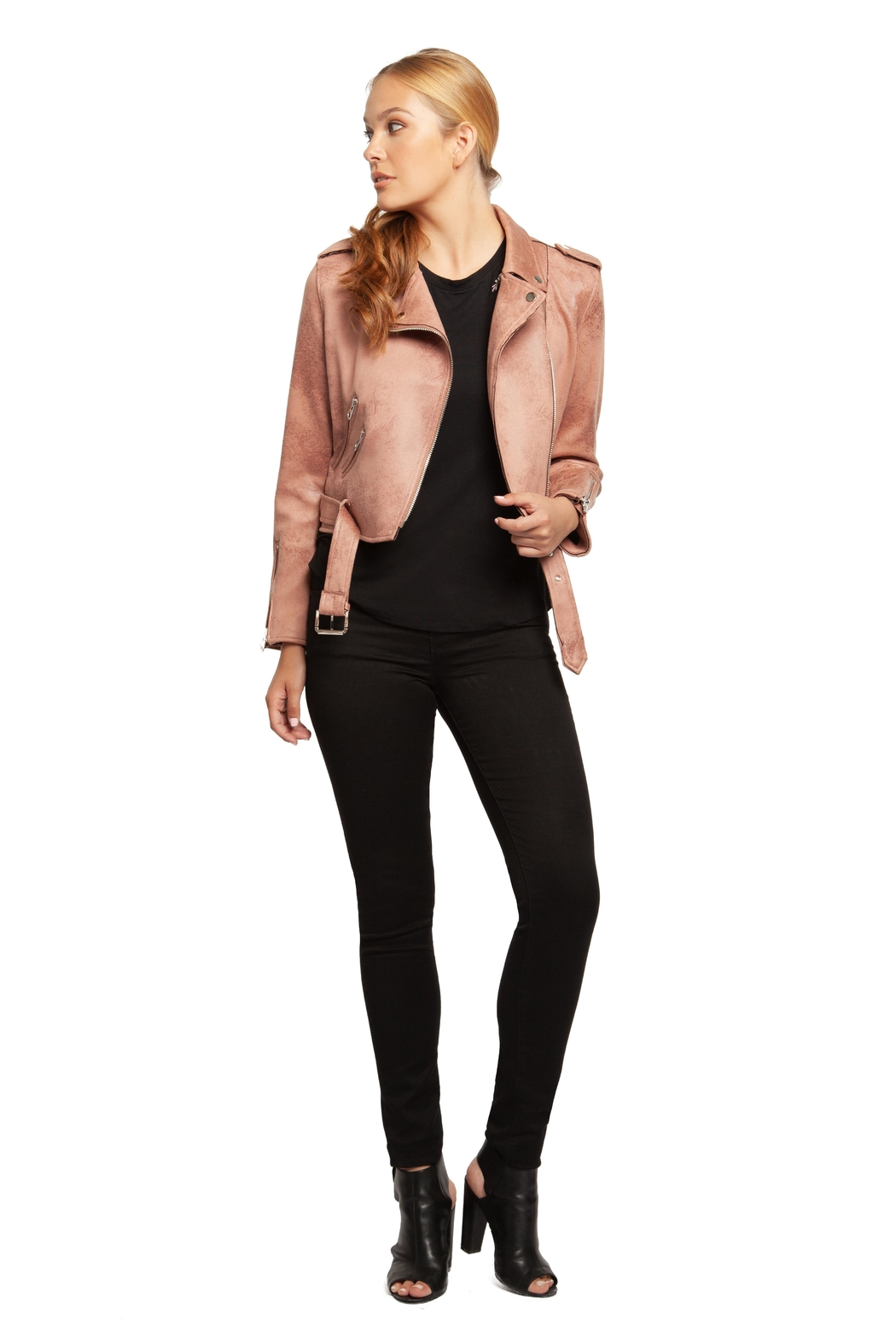 Dex Rose Faux-Suede Moto-Jacket - Front Full Image