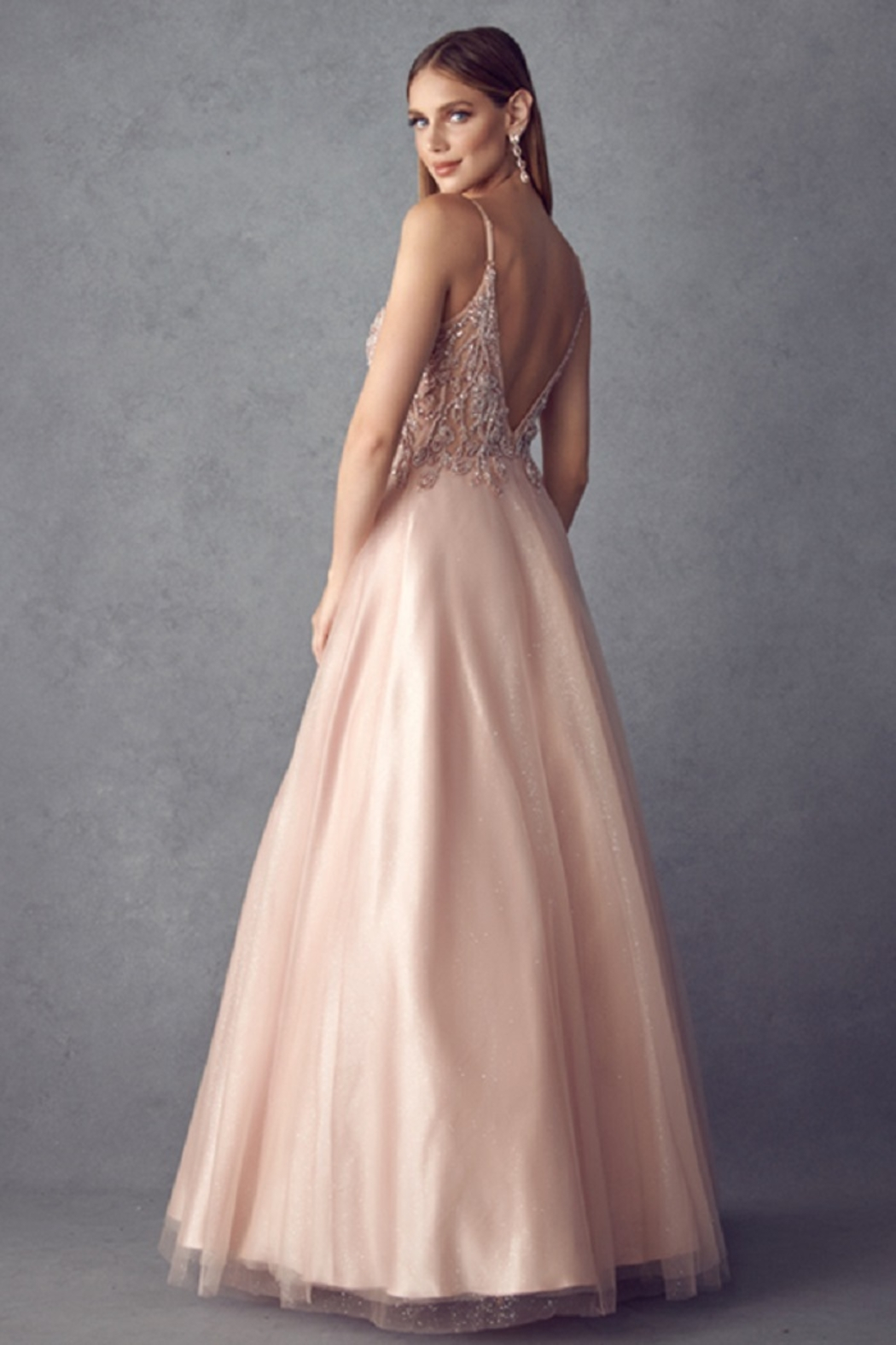 Juliet Rose Gold Beaded Formal Ball Gown - Front Full Image