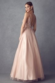 Juliet Rose Gold Beaded Formal Ball Gown - Front full body