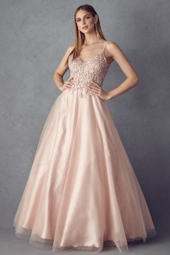 Juliet Rose Gold Beaded Formal Ball Gown - Product List Image