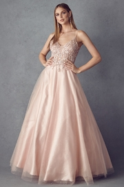 Juliet Rose Gold Beaded Formal Ball Gown - Front cropped