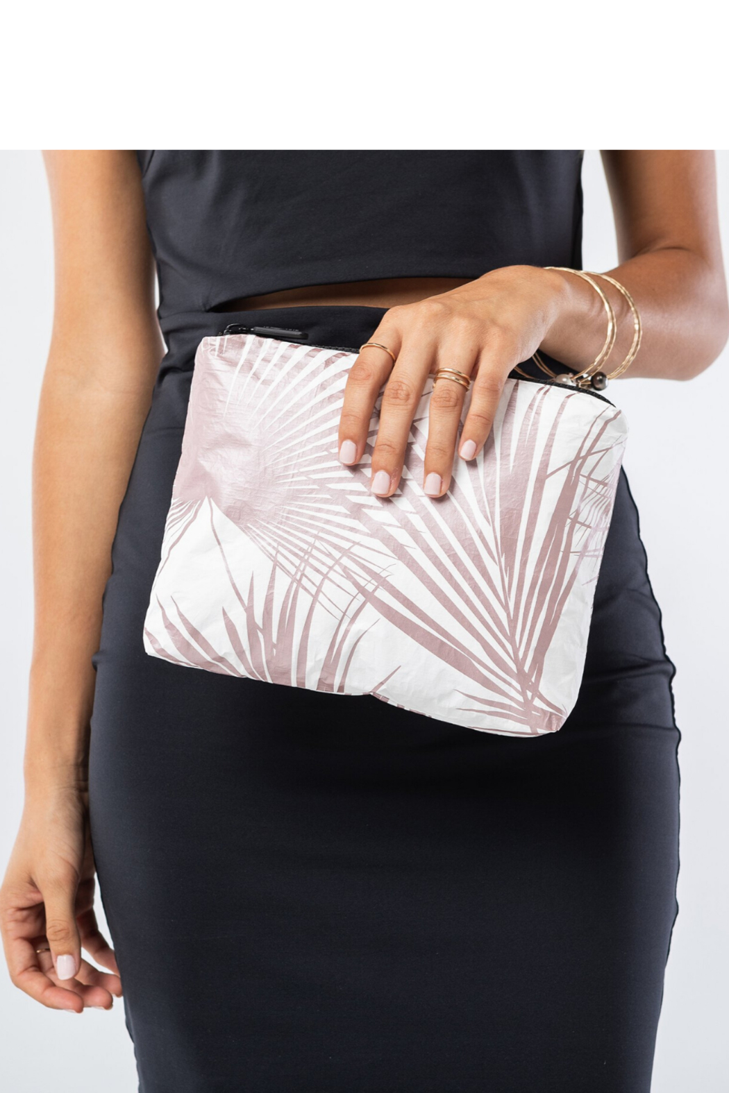 Aloha Collection Rose Gold Day Palms Zipper Pouch - Front Full Image
