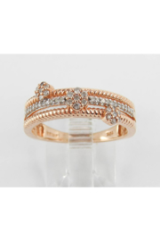 Margolin & Co Rose Gold Diamond Band, Multi Row Diamond Ring, DIamond Cluster Ring, Diamond Flower Ring, Diamond Anniversary Band, Size 7 FREE Sizing - Product Mini Image