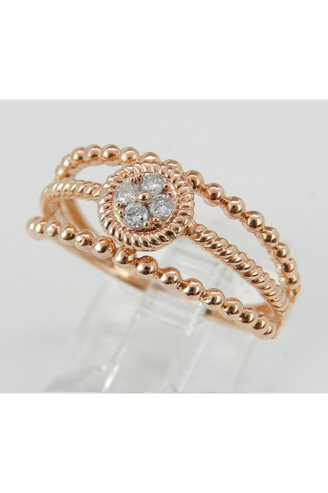 Margolin & Co Rose Gold Diamond Cluster Ring - Side Cropped Image