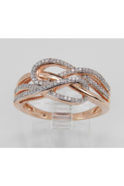 Margolin & Co Rose Gold Diamond Cocktail Ring Anniversary Crossover Band Love Knot Size 6.25 FREE Sizing - Product Mini Image