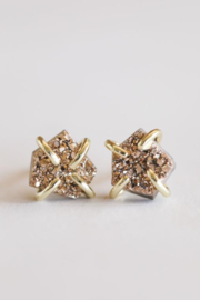 JaxKelly Rose Gold Druzy Prong Earrings - Product Mini Image