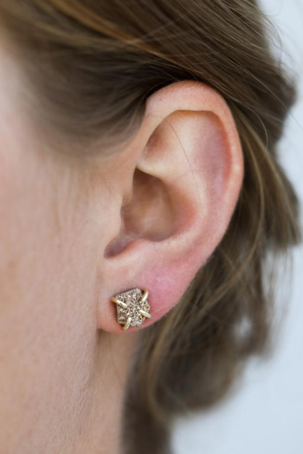 JaxKelly Rose Gold Druzy Prong Earrings - Side Cropped Image