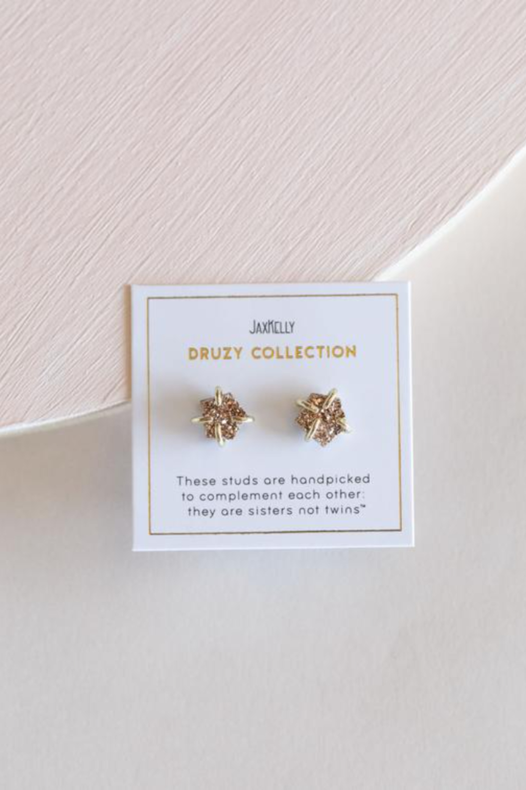 JaxKelly Rose Gold Druzy Prong Earrings - Front Full Image