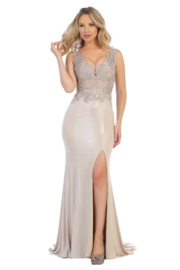 Let's Rose Gold Fit & Flare Formal Long Dress - Product Mini Image