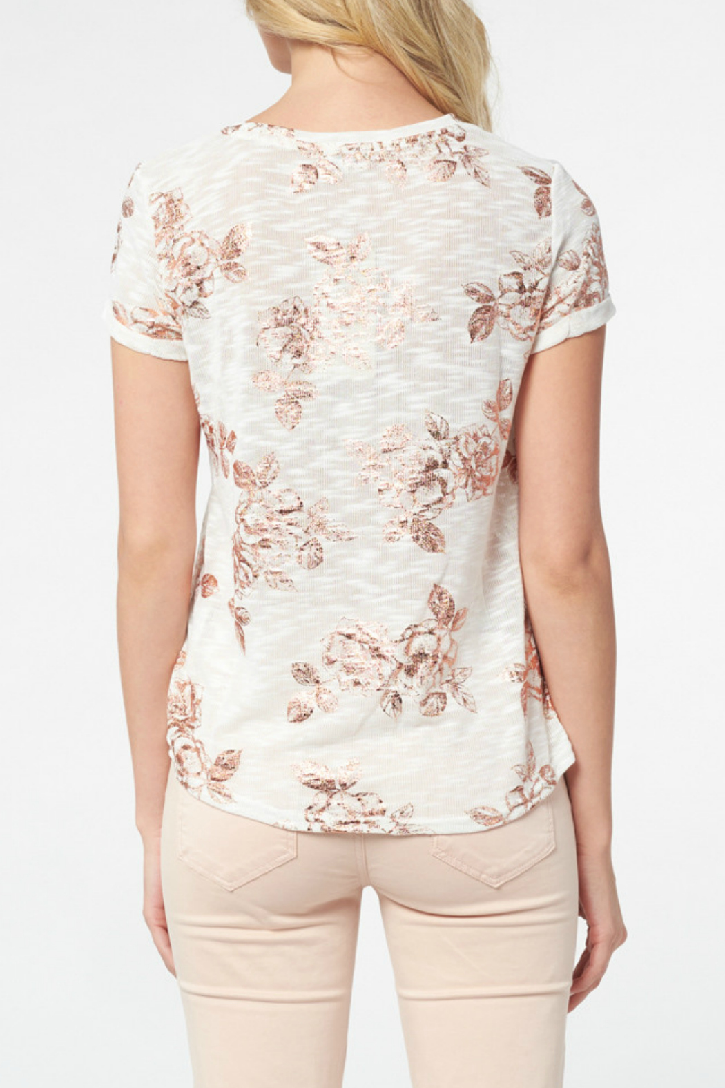 Best Mountain Rose Gold Floral Burnout Tee - Front Full Image