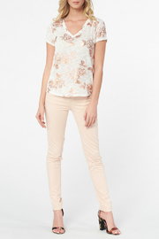 Best Mountain Rose Gold Floral Burnout Tee - Front cropped