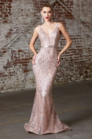 Cinderella Divine Rose Gold Glitter Print Long Formal Dress - Product Mini Image