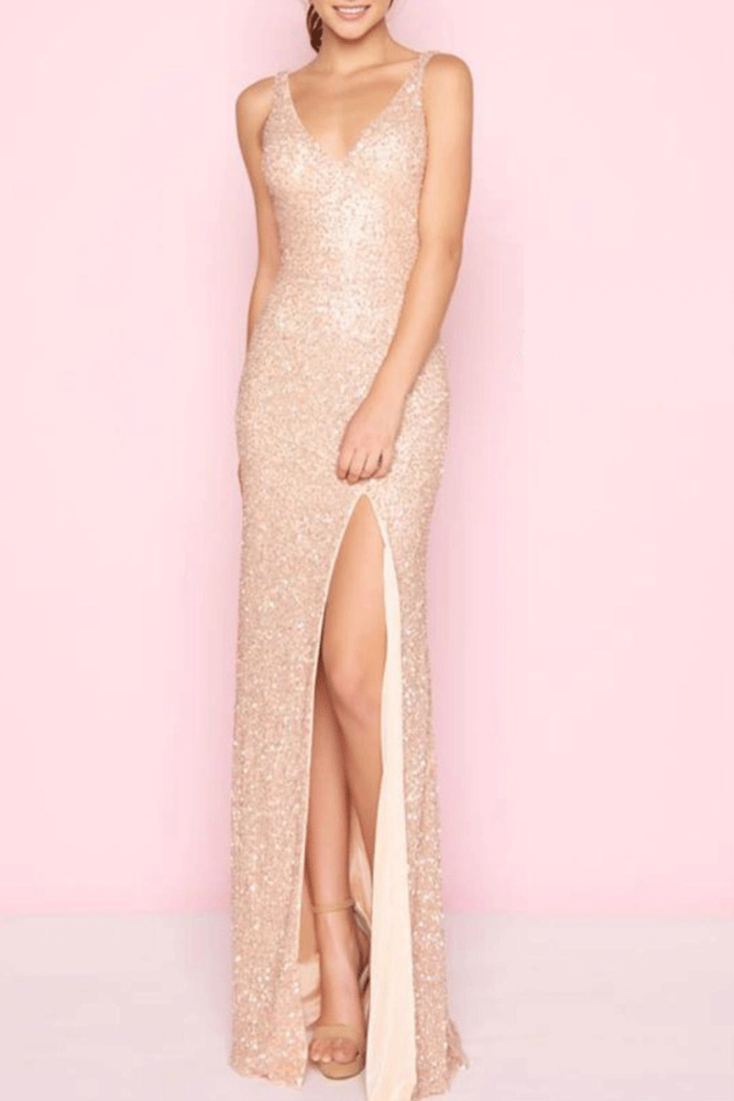 Mac Duggal Rose Gold Gown from Kansas by Eccentricity — Shoptiques