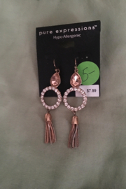 pure expressions Rose Gold Hanging Tassel Earrings - Product Mini Image