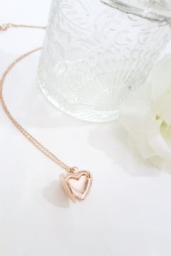Shoptiques Product: Rose-Gold Heart-Locket Necklace