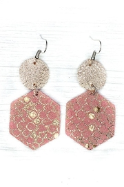 Savvy Bling Rose Gold Honeycomb Leather Earrings - Product Mini Image