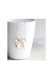 The Birds Nest Rose Gold/Ivory Long Orchid Earrings - Front cropped