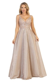 Let's Rose Gold Lace Formal Long Dress - Front cropped