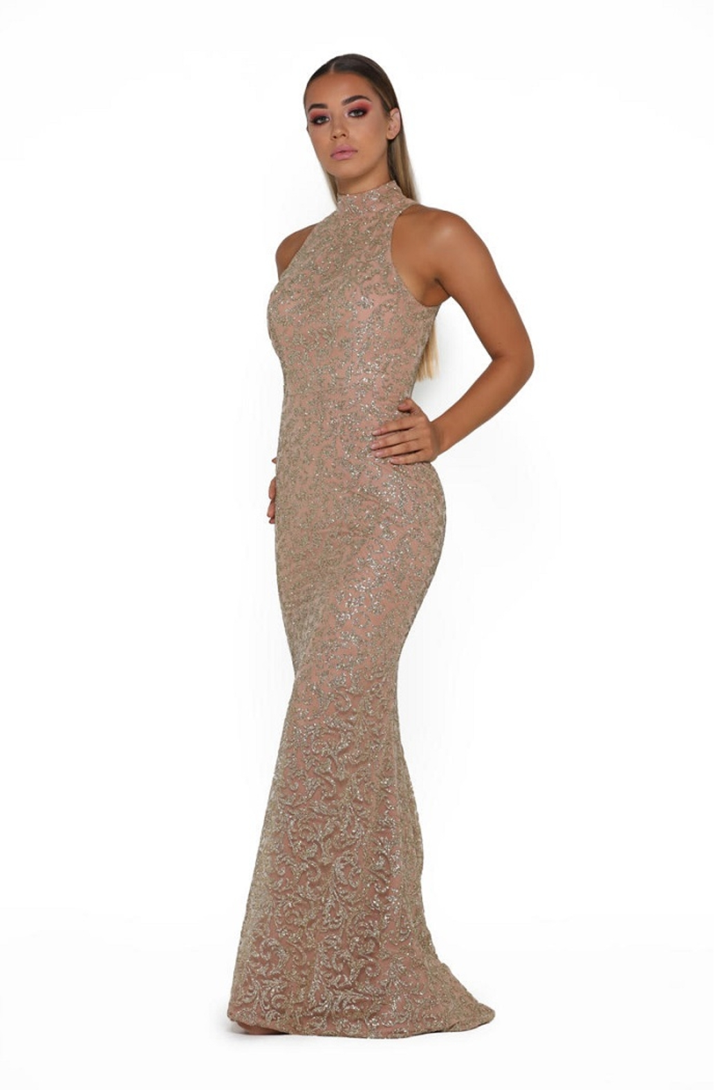 PORTIA AND SCARLETT Rose Gold Glitter Long Formal Dress With Detachable Train - Side Cropped Image