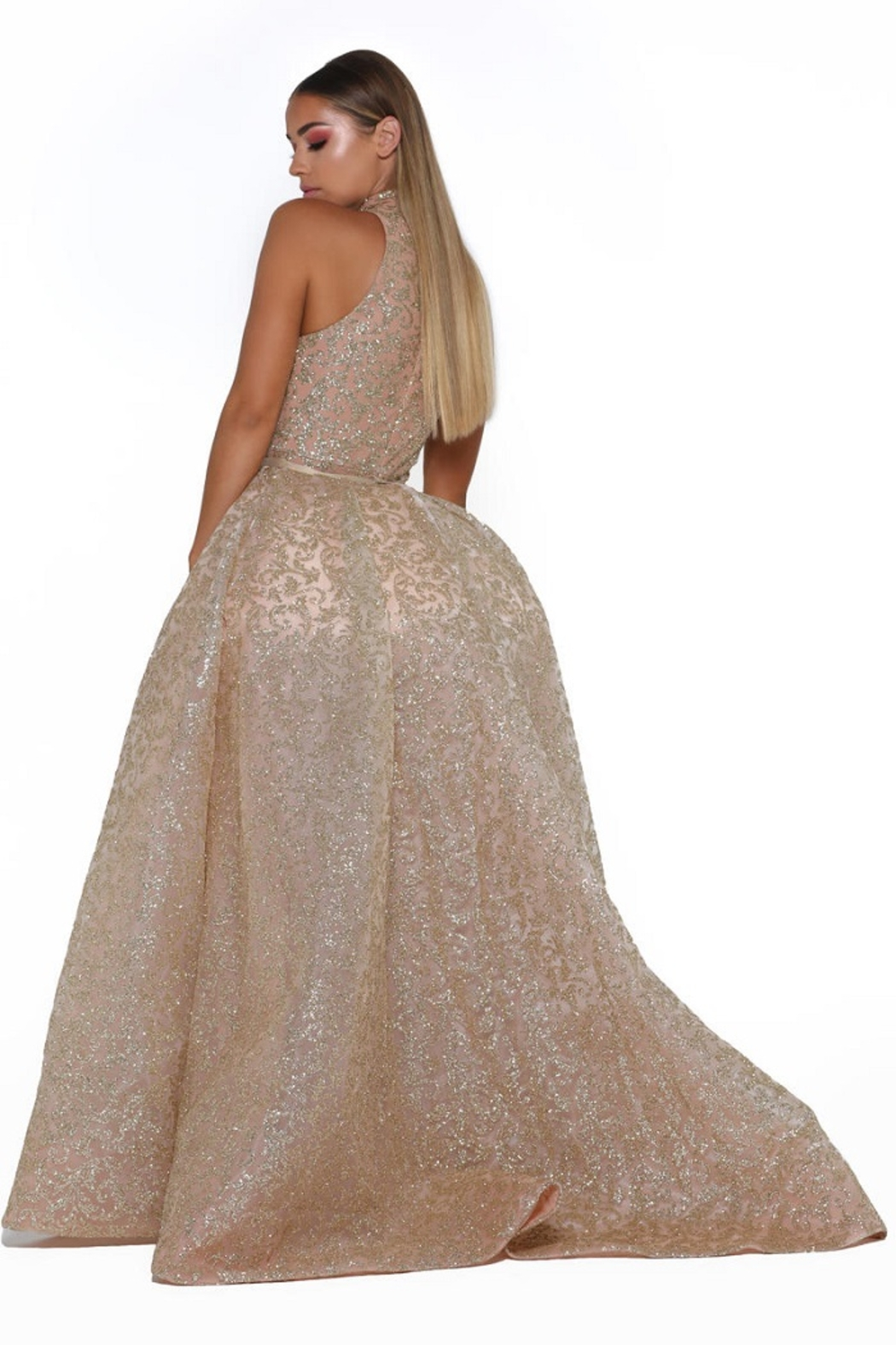 PORTIA AND SCARLETT Rose Gold Glitter Long Formal Dress With Detachable Train - Front Full Image