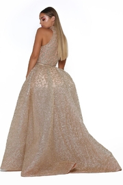 PORTIA AND SCARLETT Rose Gold Glitter Long Formal Dress With Detachable Train - Front full body