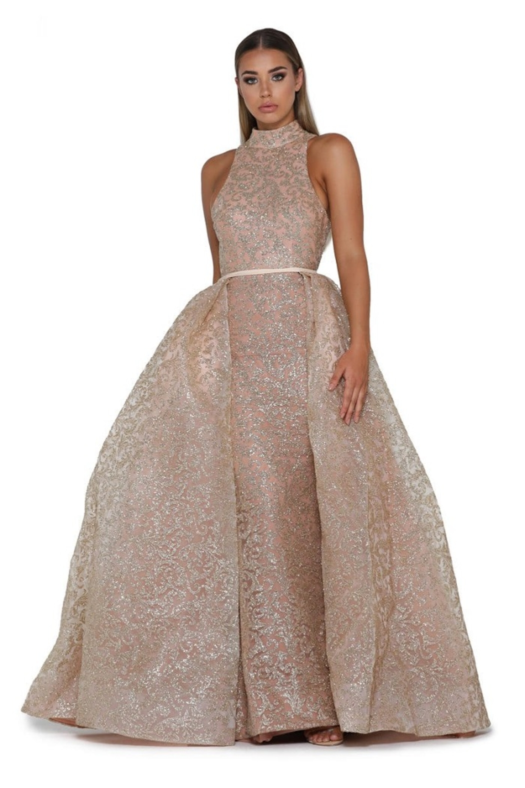 PORTIA AND SCARLETT Rose Gold Glitter Long Formal Dress With Detachable Train - Main Image