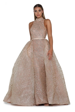 PORTIA AND SCARLETT Rose Gold Glitter Long Formal Dress With Detachable Train - Product List Image