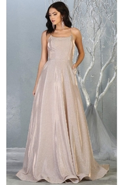 May Queen  Rose Gold Metallic A-Line Formal Long Dress - Front cropped