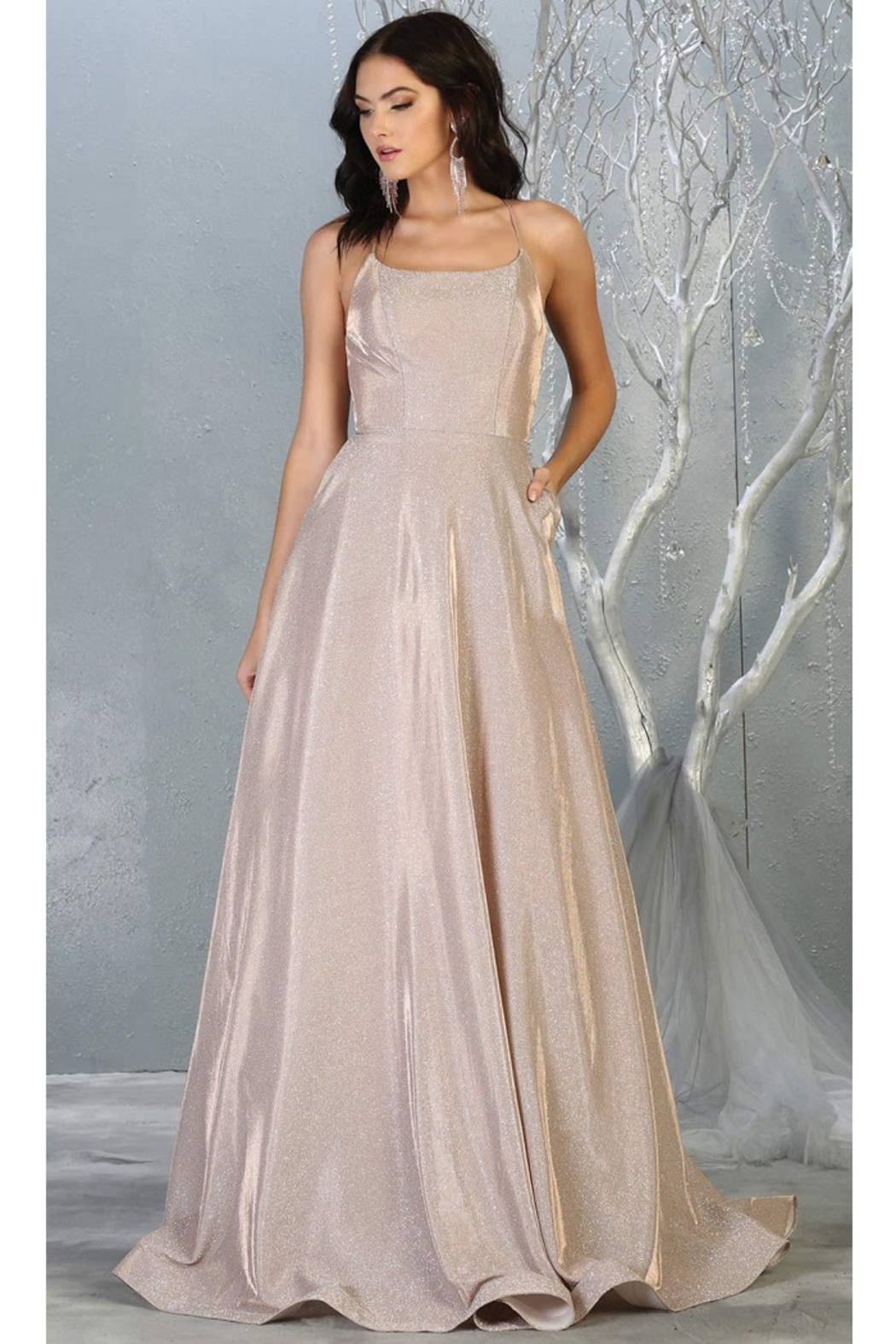 May Queen  Rose Gold Metallic A-Line Formal Long Dress - Main Image