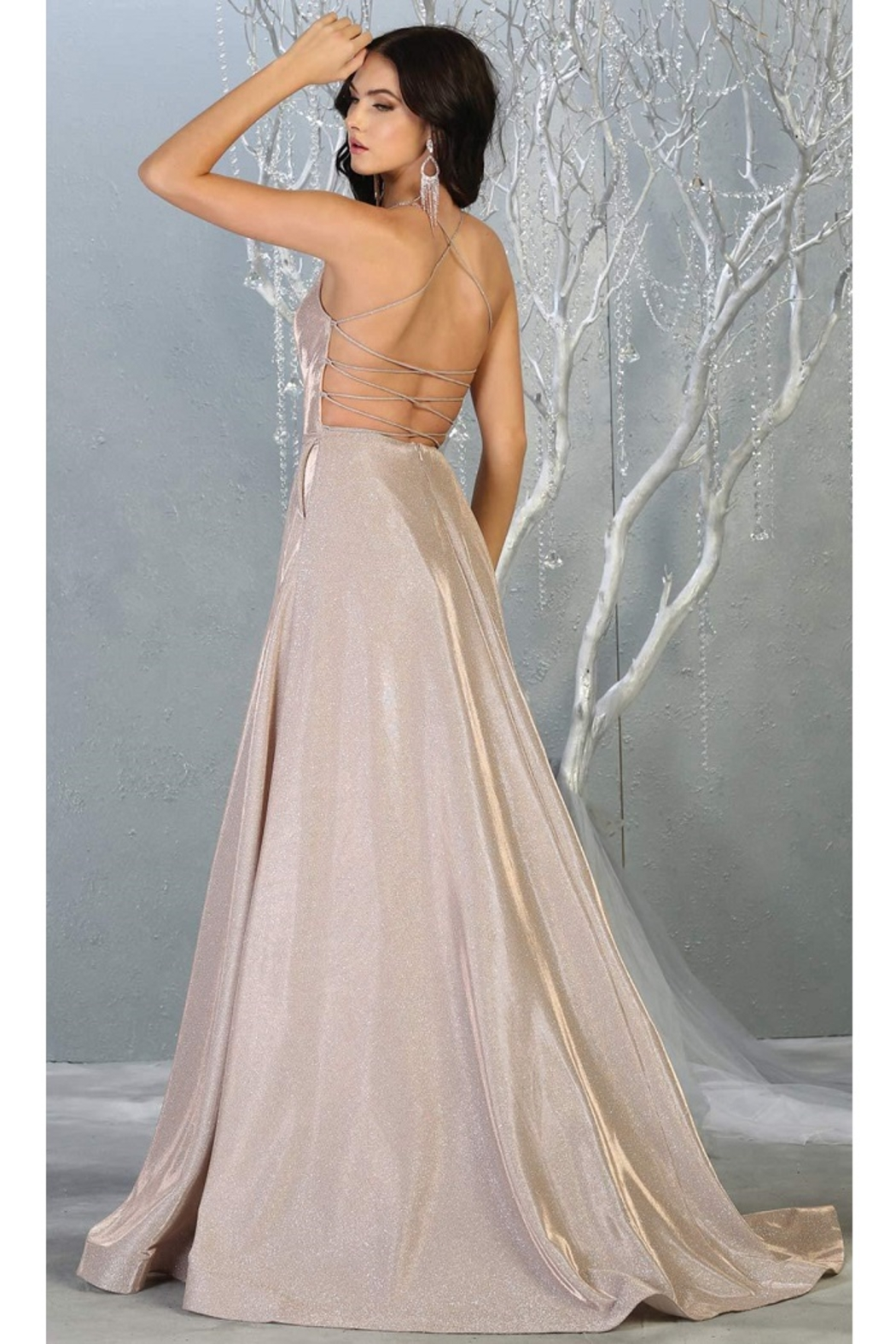 May Queen  Rose Gold Metallic A-Line Formal Long Dress - Front Full Image