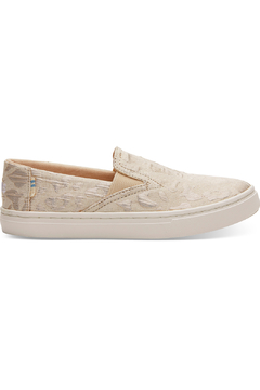 TOMS Rose Gold Metallic Woven Cheetah Youth Luca Slip-Ons - Product List Image