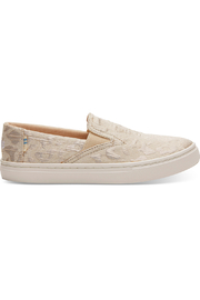 TOMS Rose Gold Metallic Woven Cheetah Youth Luca Slip-Ons - Front cropped