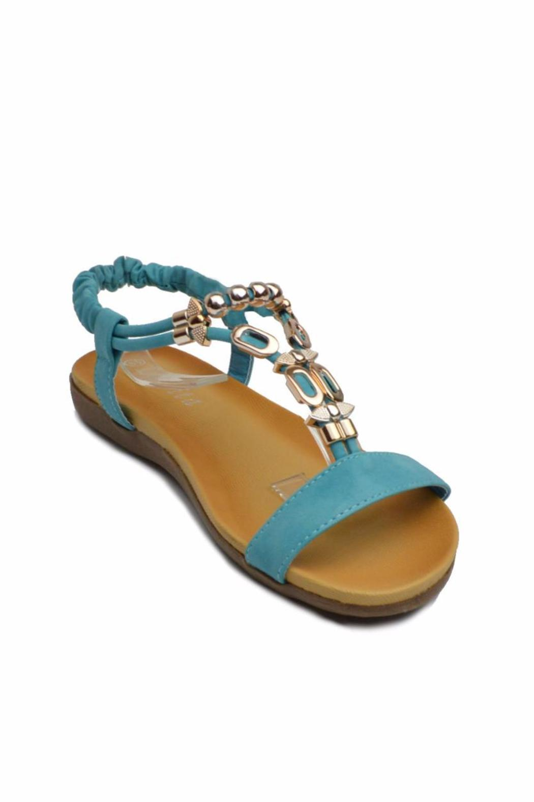 Sup Trading Gold Hardware Sandal - Side Cropped Image