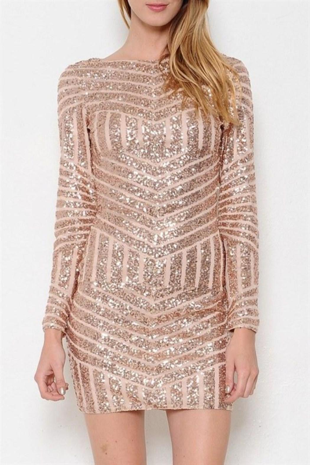 rose gold sequin dress from laredo by dollz boutique shoptiques. Black Bedroom Furniture Sets. Home Design Ideas