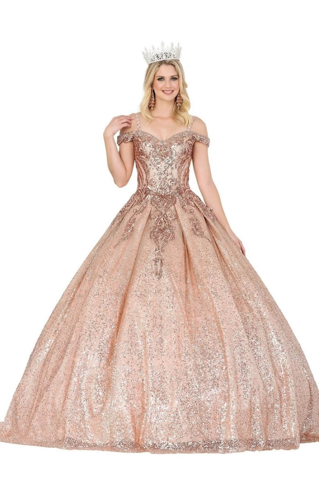 DANCING QUEEN Rose Gold Sequin Embellished Formal Ball Gown - Main Image
