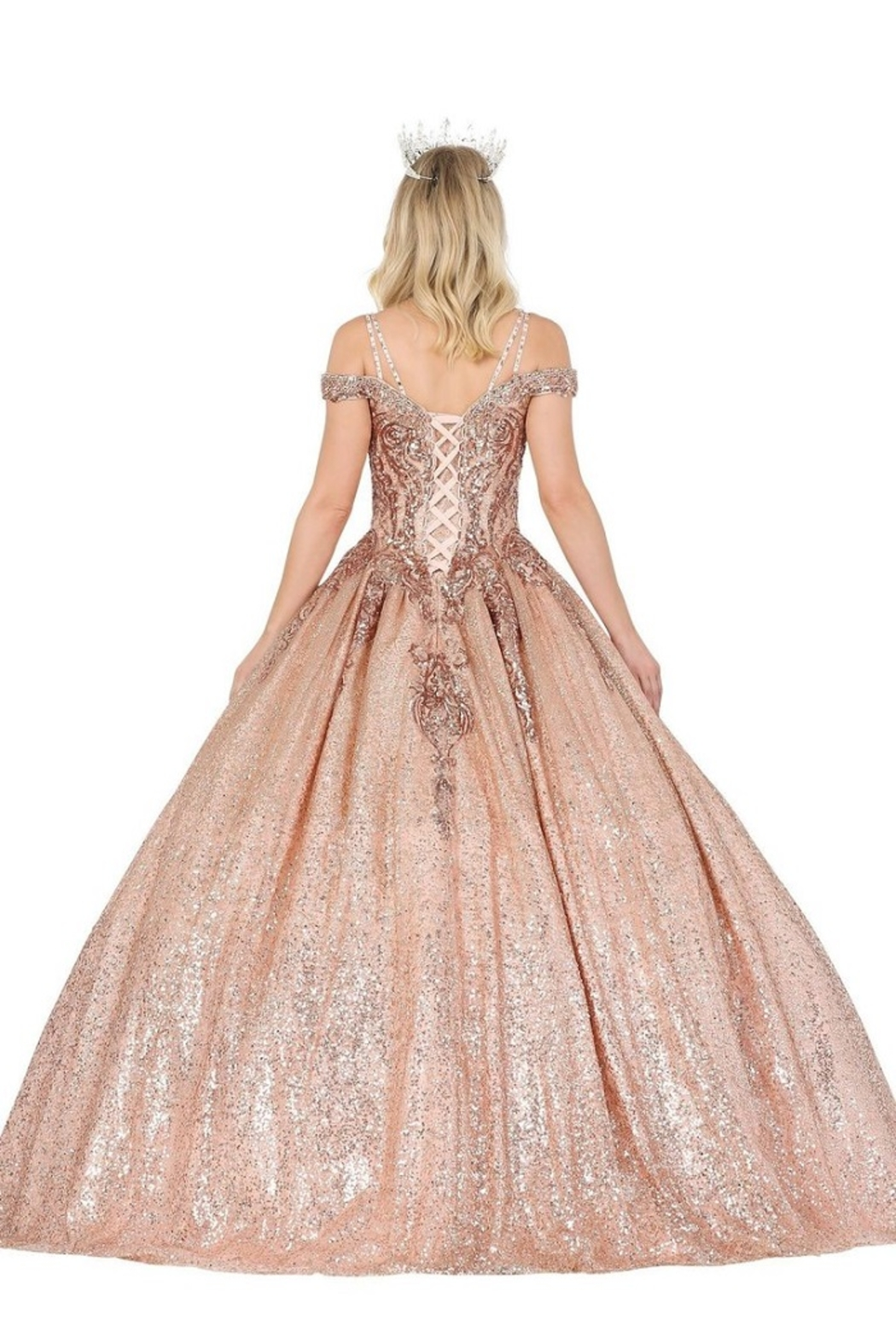 DANCING QUEEN Rose Gold Sequin Embellished Formal Ball Gown - Front Full Image