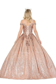DANCING QUEEN Rose Gold Sequin Embellished Formal Ball Gown - Front full body