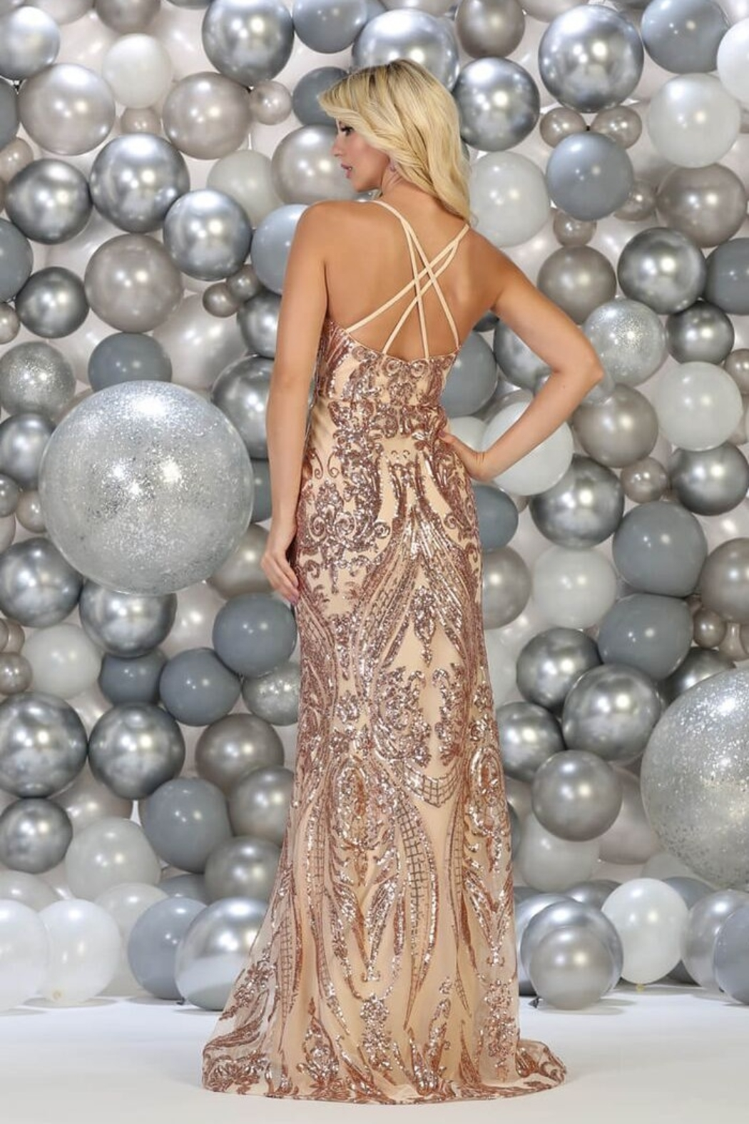 May Queen  Rose Gold Sequin Fit & Flare Formal Long Dress - Front Full Image
