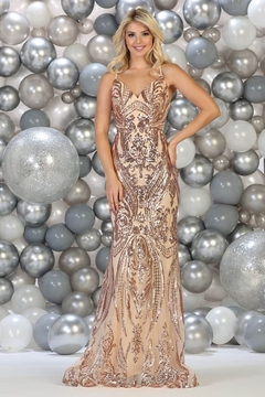 May Queen  Rose Gold Sequin Fit & Flare Formal Long Dress - Product List Image