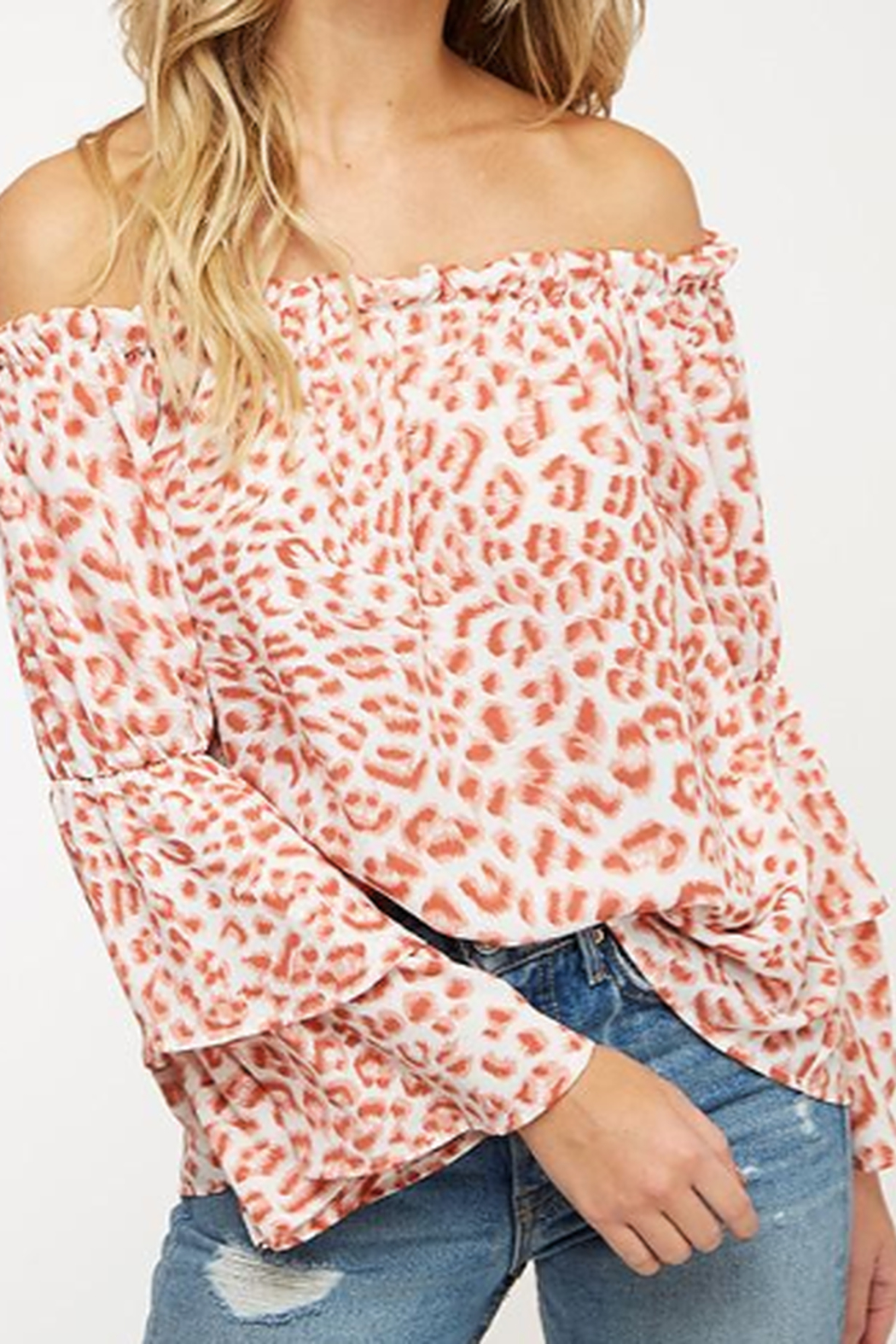 Peach Love Rose' Leopard Print off the Shoulder Top - Front Full Image