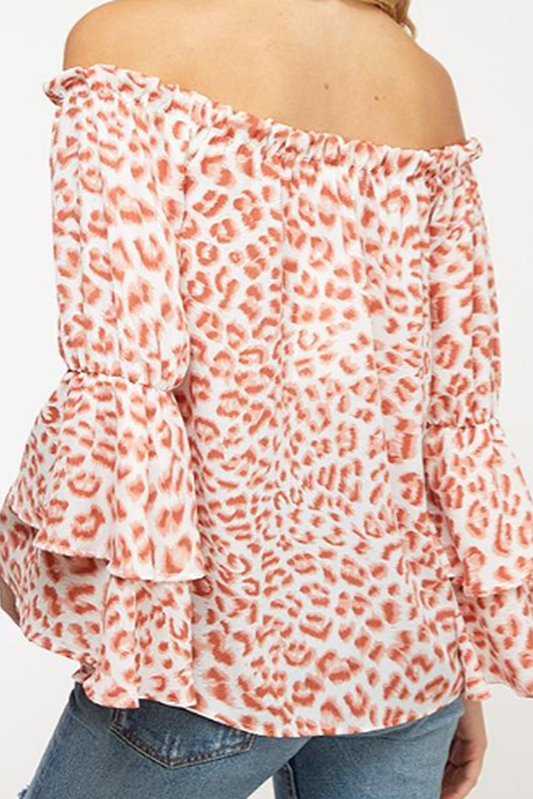 Peach Love Rose' Leopard Print off the Shoulder Top - Side Cropped Image