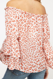 Peach Love Rose' Leopard Print off the Shoulder Top - Side cropped