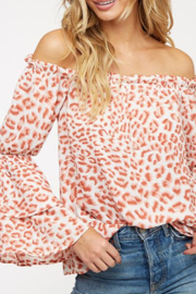 Peach Love Rose' Leopard Print off the Shoulder Top - Product Mini Image