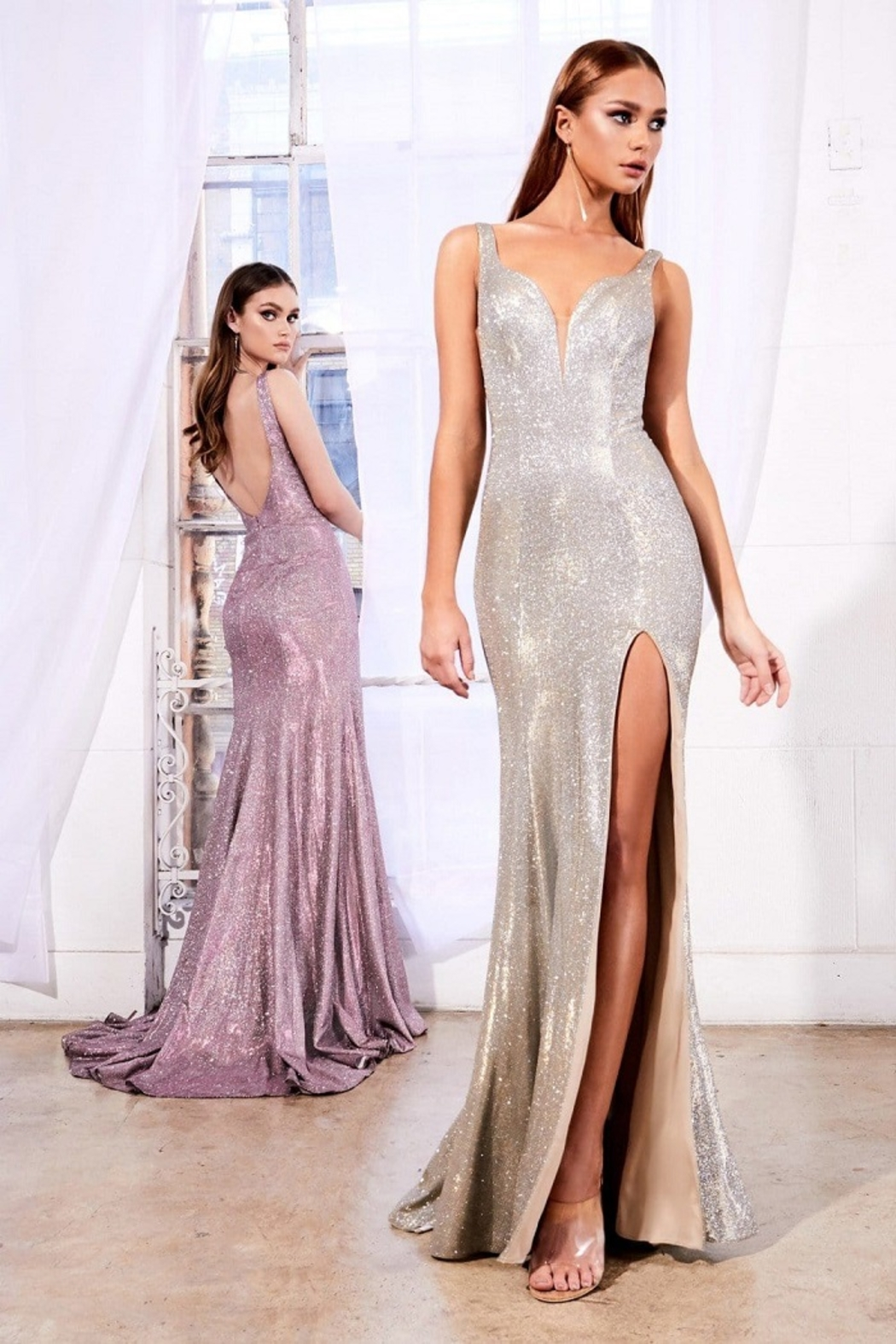 Cinderella Divine Rose Metallic Fit & Flare Long Formal Dress - Front Full Image