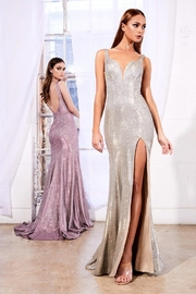 Cinderella Divine Rose Metallic Fit & Flare Long Formal Dress - Front full body