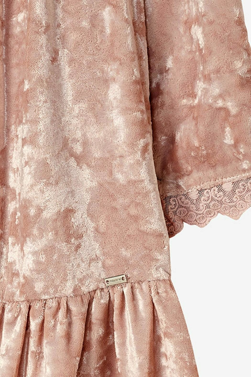 Mayoral Rose-Pink-Crushed-Velvet-Dress With-Removable-Fur-Collar - Front Full Image