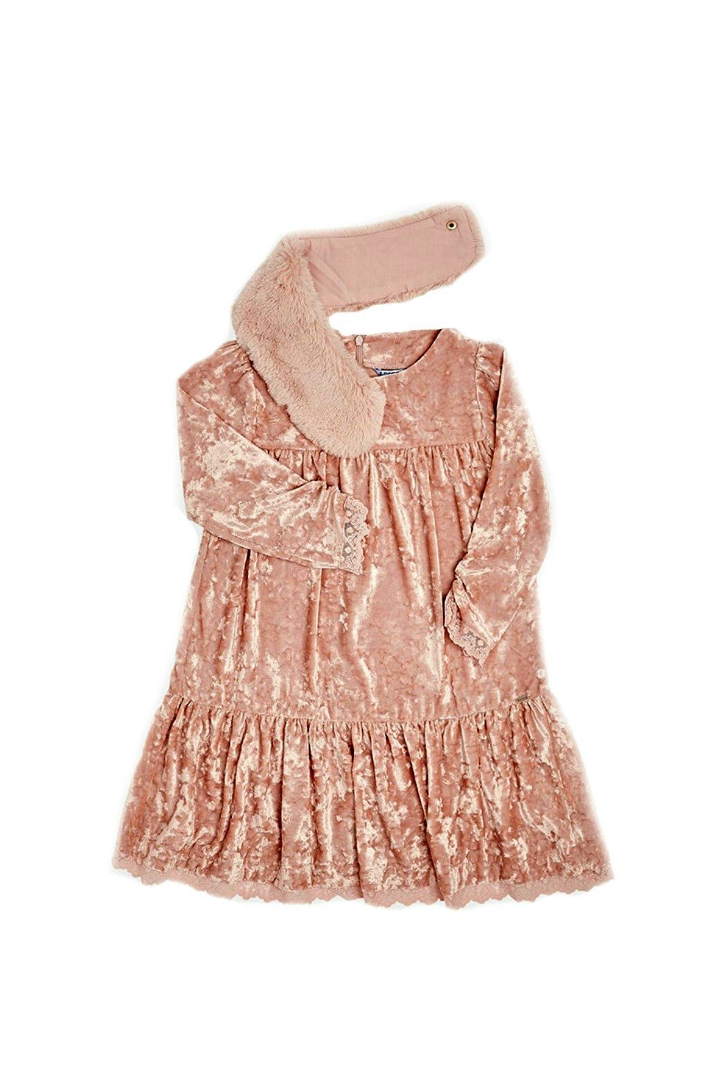 Mayoral Rose-Pink-Crushed-Velvet-Dress With-Removable-Fur-Collar - Side Cropped Image