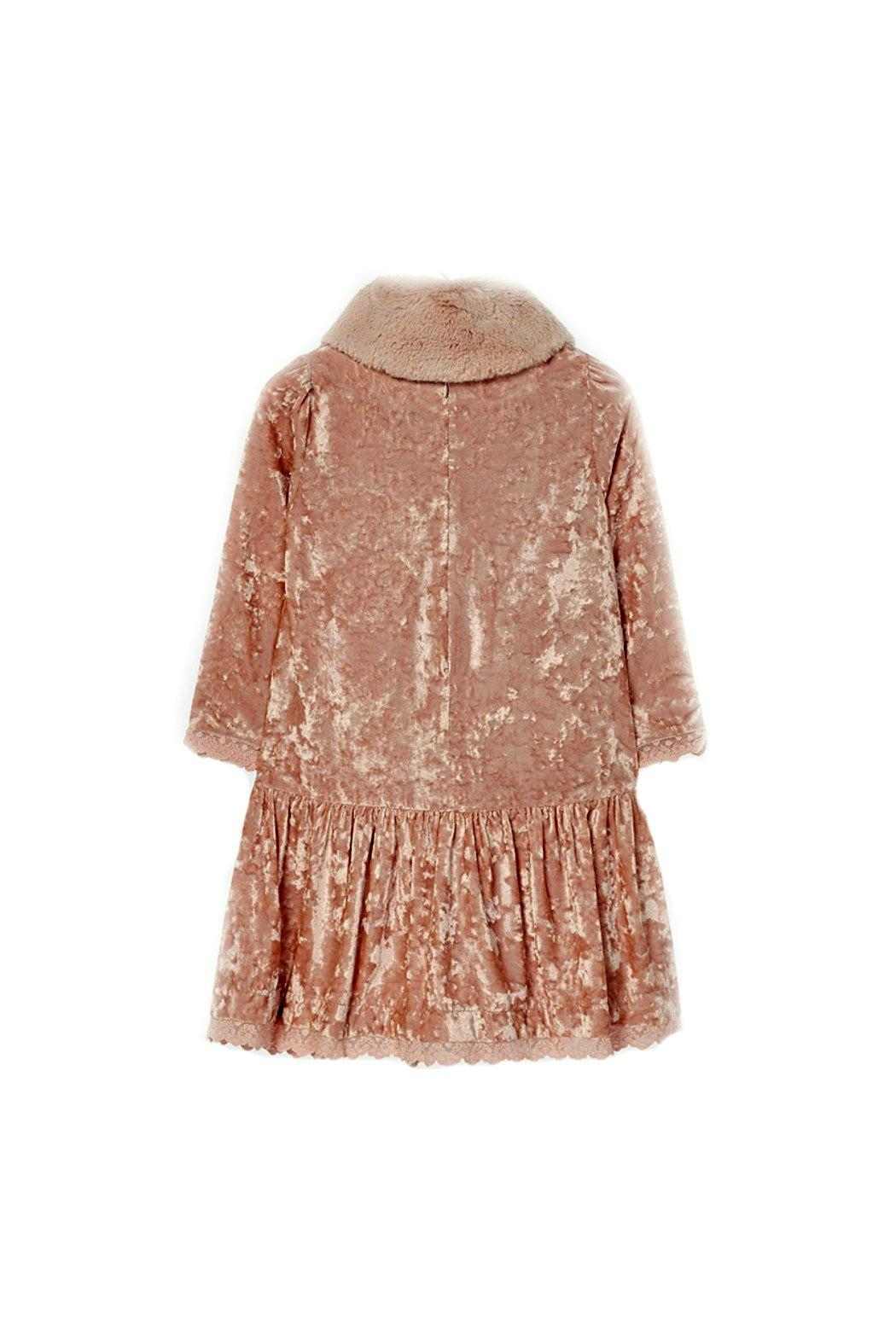 Mayoral Rose-Pink-Crushed-Velvet-Dress With-Removable-Fur-Collar - Back Cropped Image