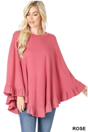 Zenana Outfitters Rose Poncho - Front cropped