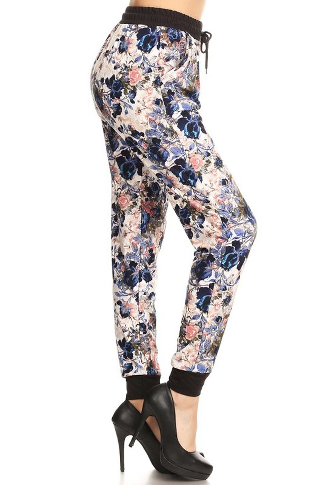 New Mix Rose Print Jogger - Front Full Image